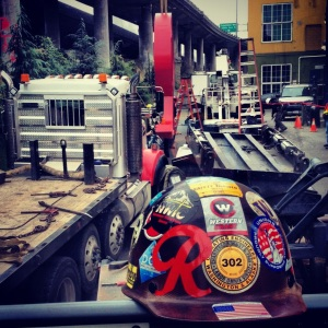hard hat with Rainier sticker